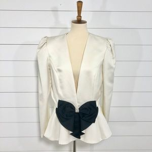 Vintage 80's Samantha Black Bow Front Blazer